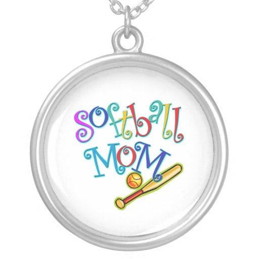Softball Mom Round Pendant Necklace