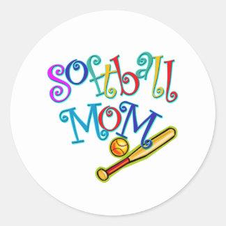 Softball Mom Round Sticker