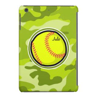 Softball on bright green camo camouflage iPad mini case