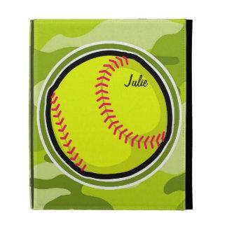 Softball on bright green camo camouflage iPad folio case