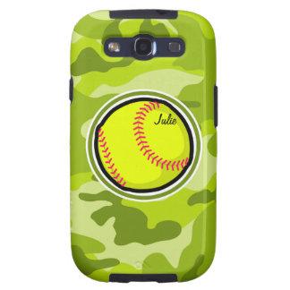 Softball on bright green camo camouflage samsung galaxy s3 covers