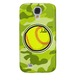 Softball on bright green camo camouflage galaxy s4 case