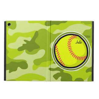 Softball on bright green camo camouflage cover for iPad air