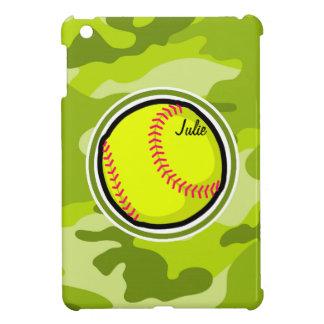 Softball on bright green camo camouflage iPad mini cover