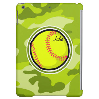 Softball on bright green camo camouflage iPad air cases