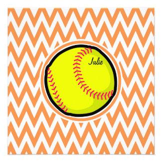 Softball; Orange and White Chevron Custom Invite