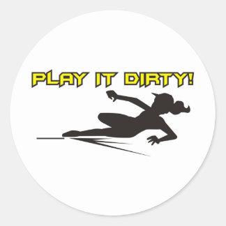Softball Play if Dirty Classic Round Sticker