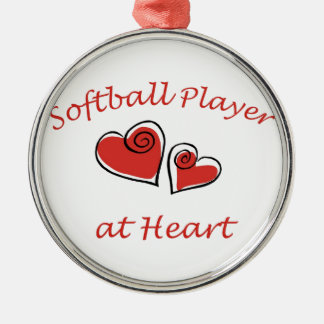 Softball Player at Heart Silver-Colored Round Ornament
