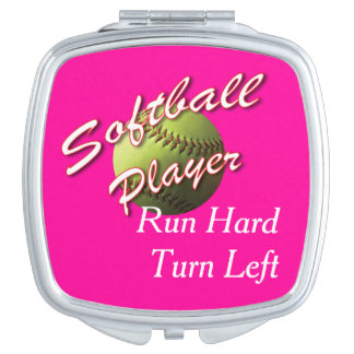 Softball Player Run Hard Turn Left Mirror For Makeup