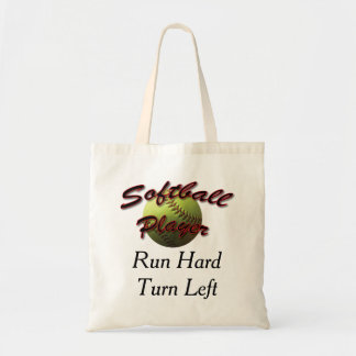 Softball Player Run Hard Turn Left Tote Bag