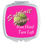 Softball Player Run Hard Turn Left Vanity Mirror