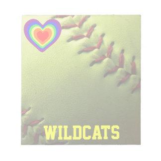 Softball Pride Rainbow Heart and Name Notepad