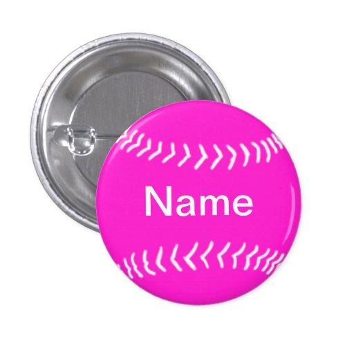 Softball Silhouette Button Pink