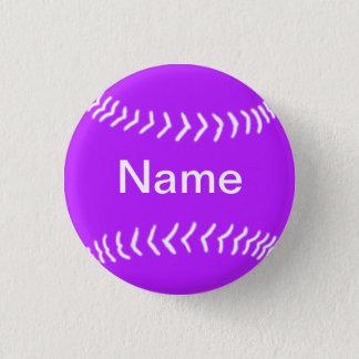 Softball Silhouette Button Purple