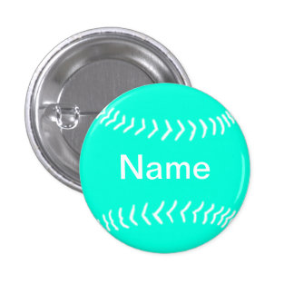 Softball Silhouette Button Turquoise
