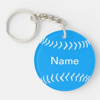 Softball Silhouette Keychain Blue