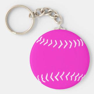 Softball Silhouette Keychain Pink