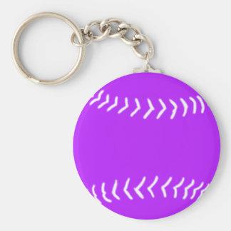 Softball Silhouette Keychain Purple