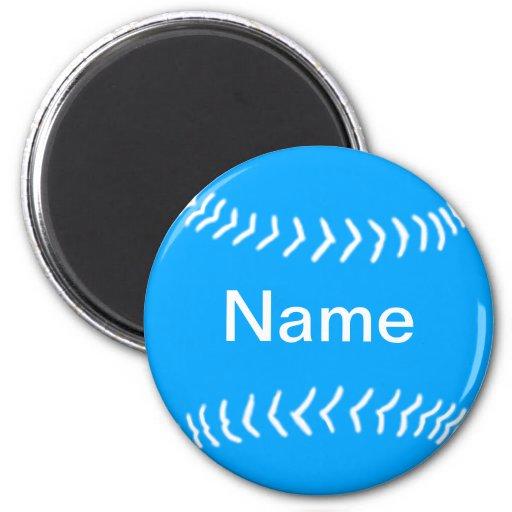 Softball Silhouette Magnet Blue