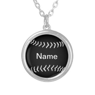 Softball Silhouette Necklace Black