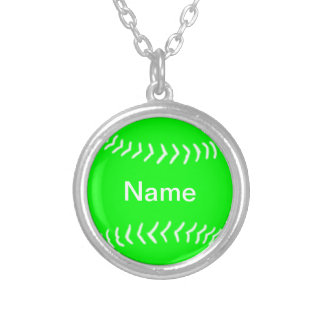 Softball Silhouette Necklace Green