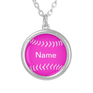 Softball Silhouette Necklace Pink