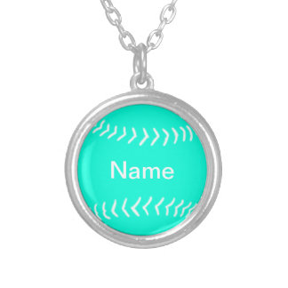 Softball Silhouette Necklace Turquoise
