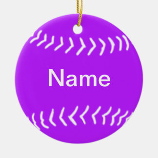 Softball Silhouette Ornament Purple