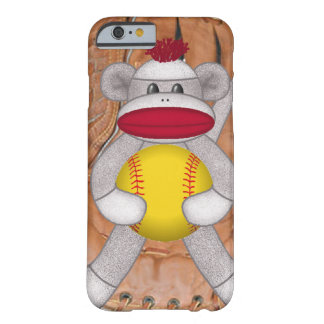 Softball Sock Monkey iPhone or Smart Phone Case Barely There iPhone 6 Case