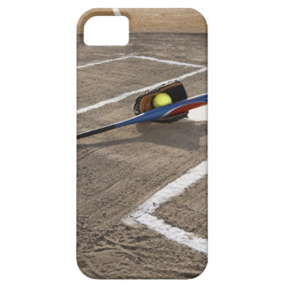 Softball, softball glove and bat at home plate iPhone 5 cover