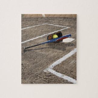 Softball, softball glove and bat at home plate jigsaw puzzle