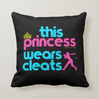 Softball: This Princess Wears Cleats - Golly Girls Throw Pillow