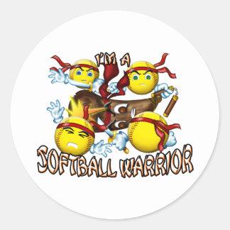 Softball Warrior Round Sticker
