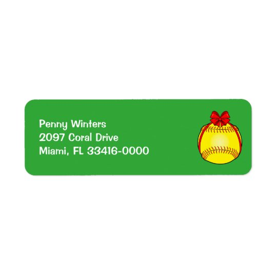 Softball with a Bow at Christmas Return Address Label