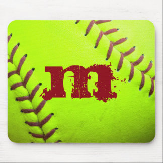 Softball Yellow Fast Monogram Initial Mouse Pad