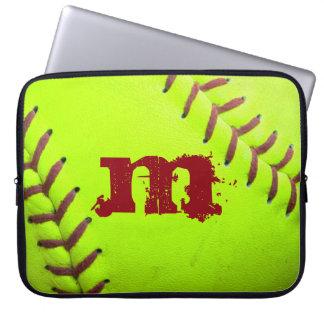 "Softball Yellow Fast Pitc Monogram 15"" Laptop Case"