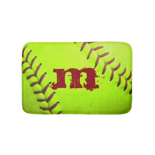 Softball Yellow Fast Pitch 8U 10U 12U 14U Bath Mat