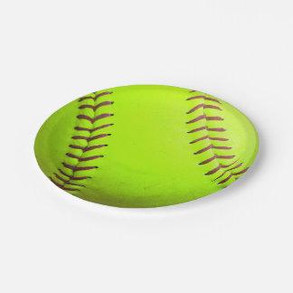 """Softball Yellow Fast Pitch 8U 10U Paper Plates 7"""""""