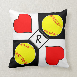 Softballs & Hearts Black & White Checker Monogram Throw Pillow