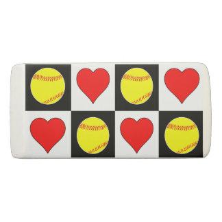 Softballs & Hearts Cute Fastpitch Softball Eraser
