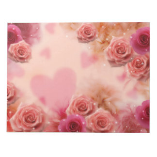 Soften Roses and Hearts Wedding Floral Love Notepad