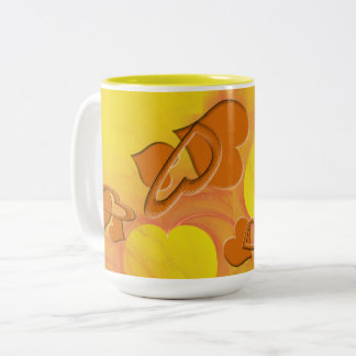 Softer Side of Orange Hearts Two-Tone Coffee Mug