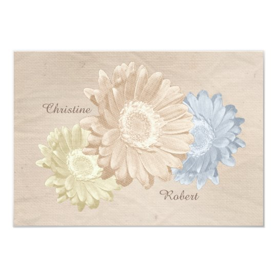 Softly Antiqued Peach Paper & Pastel Flowers RSVP Card