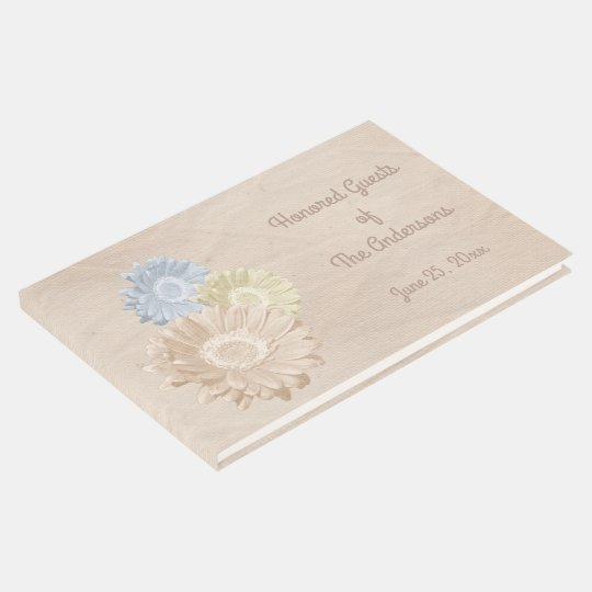 Softly Antiqued Peach Paper with 3 Flowers Guest Book