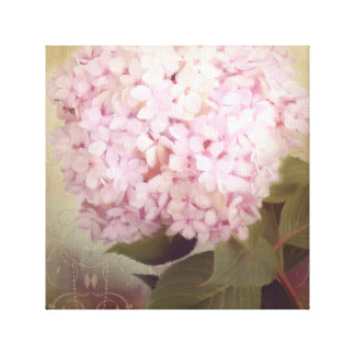 Softly Summer 2 Songbirds Pink Hydrangea Floral Canvas Print
