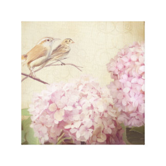 Softly Summer 2 Songbirds Pink Hydrangeas Vintage Canvas Print