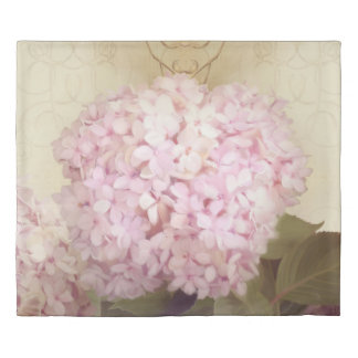 Softly Summer Single Pink Hydrangea Floral Blossom Duvet Cover