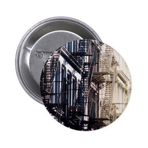 soho fireescapes pinback button