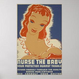 Soignez l'affiche de WPA de bébé