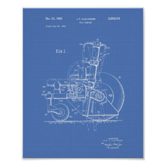 Soil Sampler 1965 Patent Art Blueprint Poster